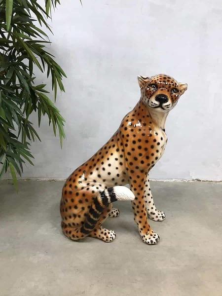 Vintage Italian Ceramic Cheetah Tiger Tiger Ceramics Statue Sculpture Image