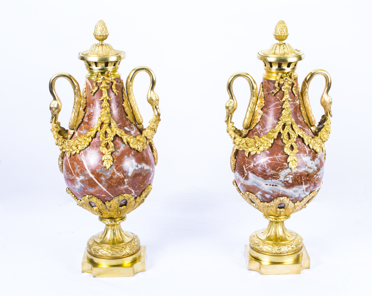 Antique Pair Louis Xv French Rouge Marble Urns C1860