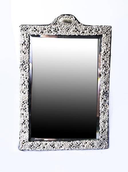 Antique Victorian Silver Easel Mirror Levi & Salaman 1902