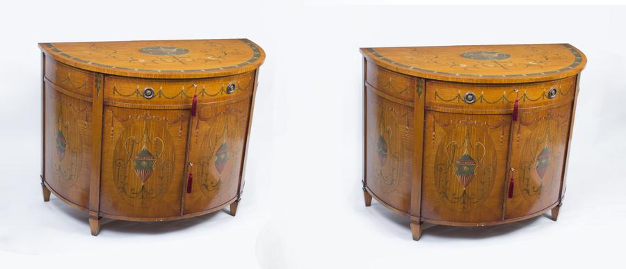 Vintage Pair Painted Satinwood Half Moon Cabinets 20th C