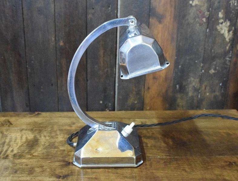 Original Art Deco Chrome Banker Lamp