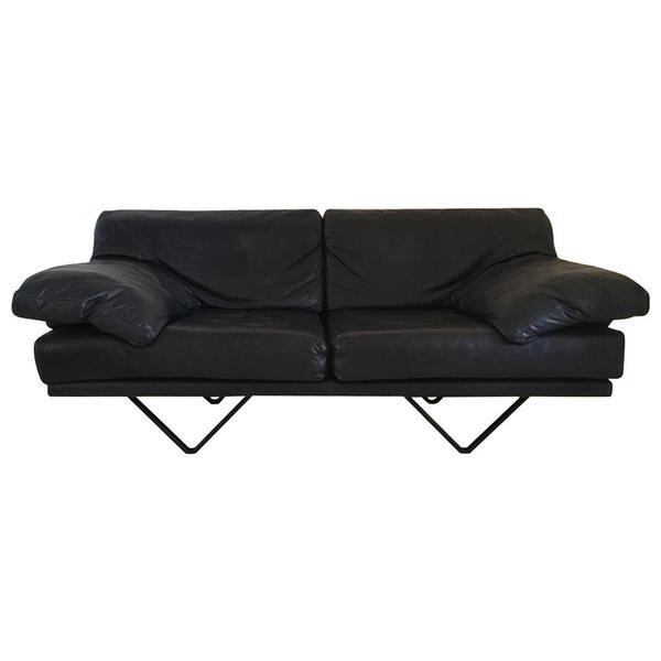 Durlet, Blue Leather Sofa, Model Cornelius, 1980s