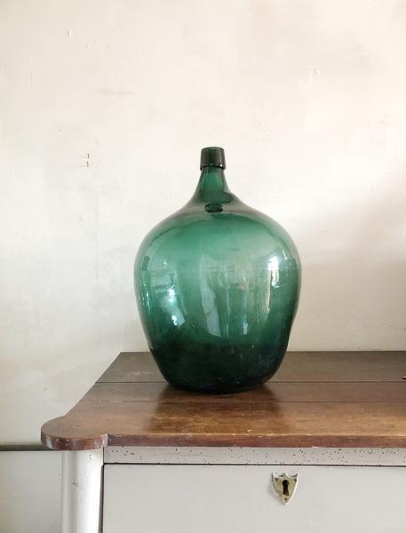 Vintage Green French Demi John / Green Glass Bottle / French Bonbonne / Demi Jean
