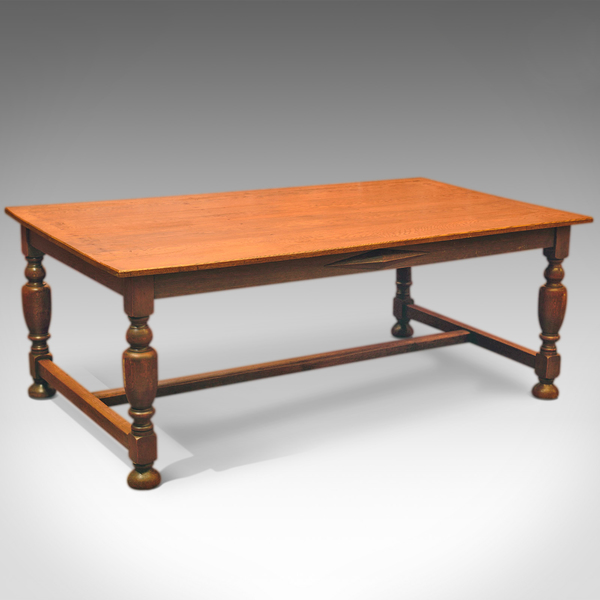 Victorian Large Country Kitchen Oak Table, C.1900