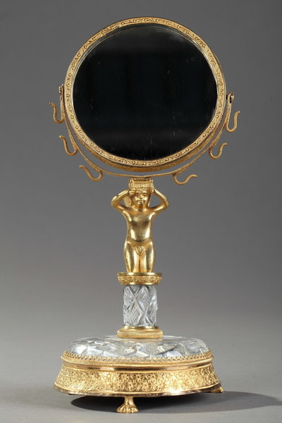Charles X Gilt Bronze And Cut Crystal Pivoting Mirror And Ring Holder