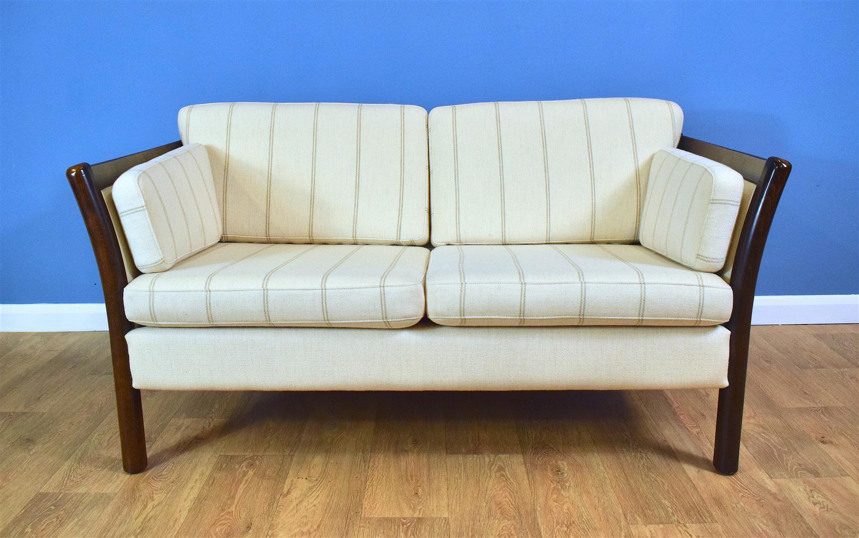 Mid Century Retro Vintage Danish Cream Wool 2 Seater Sofa Settee