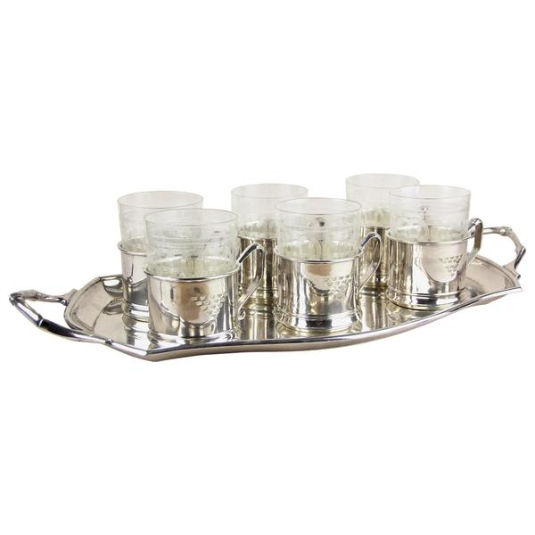 Art Nouveau Set Of 6 Glasses On Silvered Tray By Argentor, Vienna, Circa 1910