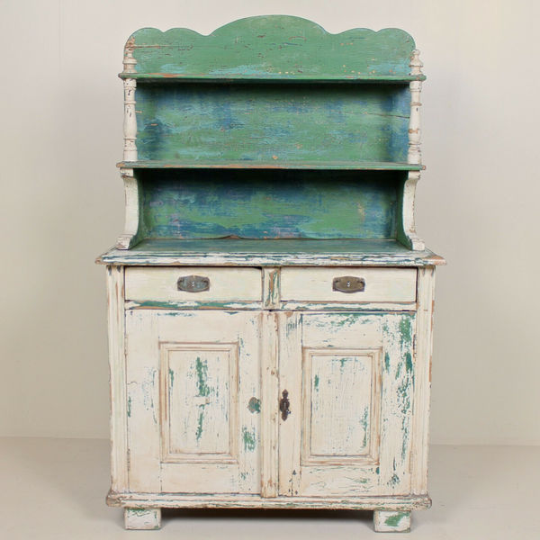 Antique French Painted Dresser Bookcase Original Distressed Scraped