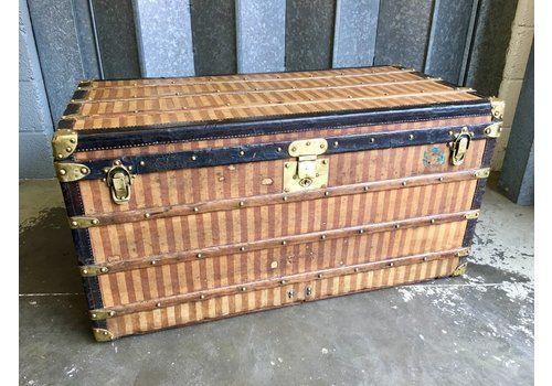 96f6feb82b4f Antique Louis Vuitton Rayee Striped Steamer Trunk 1887