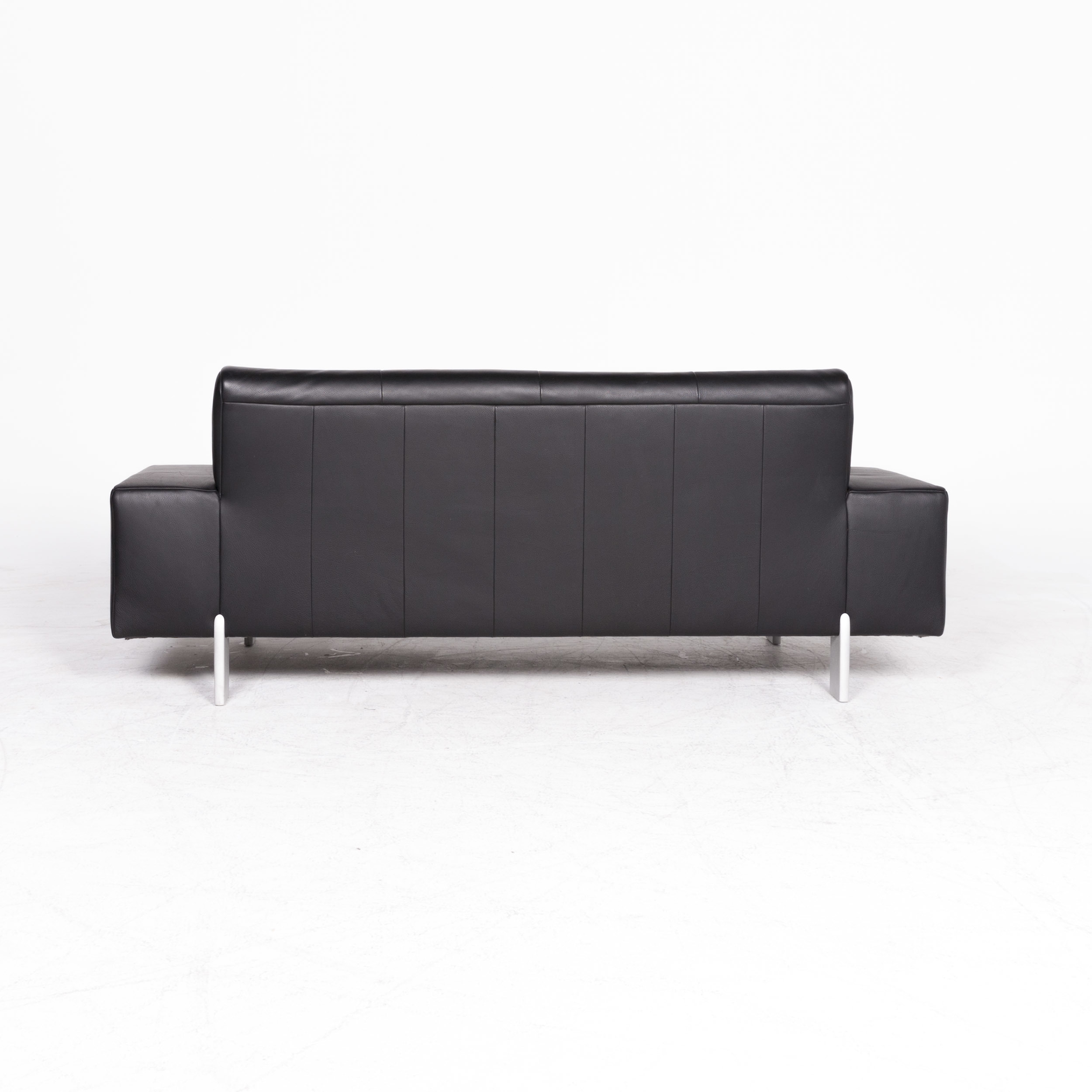 Rolf Benz Ak 644 Designer Leather Sofa Black Genuine Leather Three