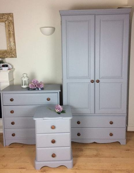 Furniture Solid Pine Wardrobe Upcycled Painted Grey Shabby Chic Part Of Set Home & Garden