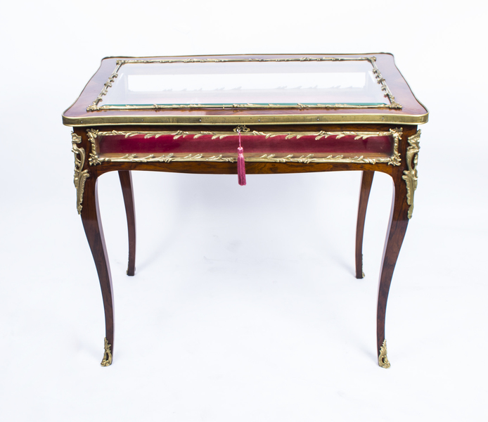 Antique French Kingwood & Ormolu Bijouterie Display Table