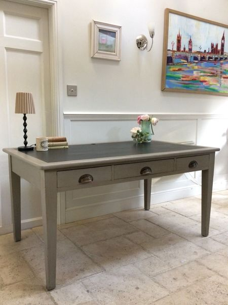 Outstanding Large Antique 5Ft Painted Grey Library Writing Table Desk Download Free Architecture Designs Scobabritishbridgeorg