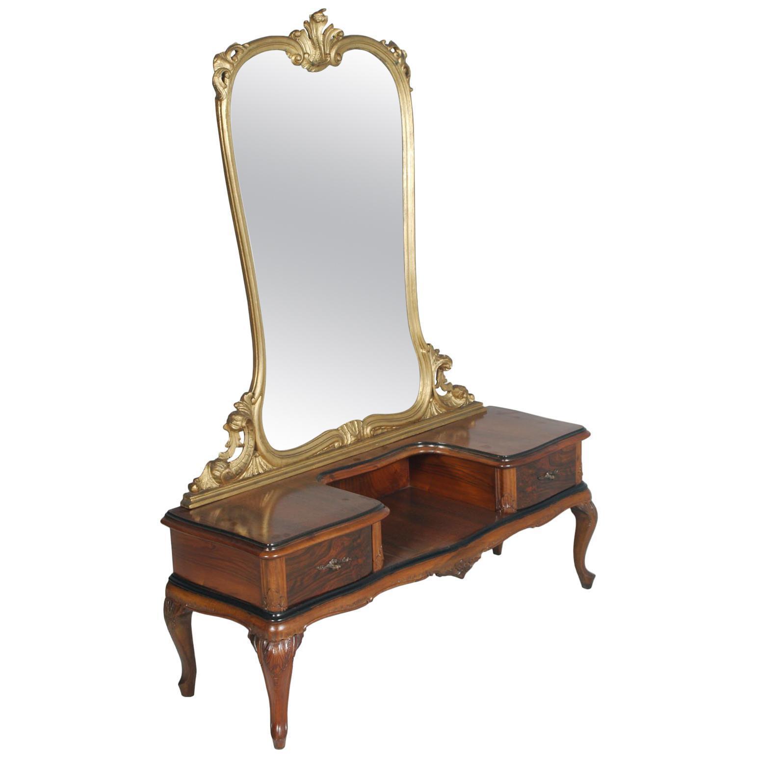 1920s Antique Vanity Baroque Venetian Beveled Mirror Hand Carved Walnut Burl Vinterior