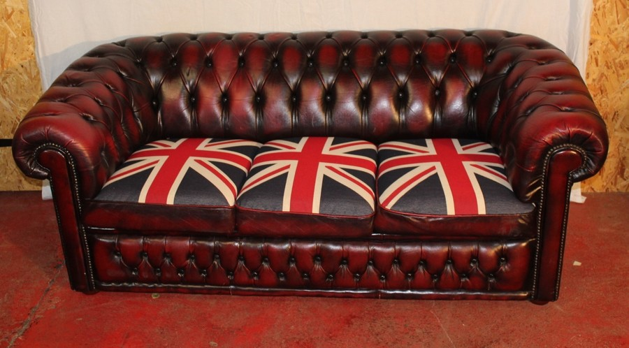 1960s Ox Red Leather 3 Seat Chesterfield Sofa Union Jack Cushions