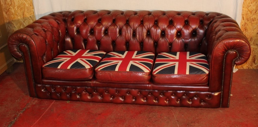 1960s Red Leather 3 Seat Chesterfield Sofa Union Jack Cushions