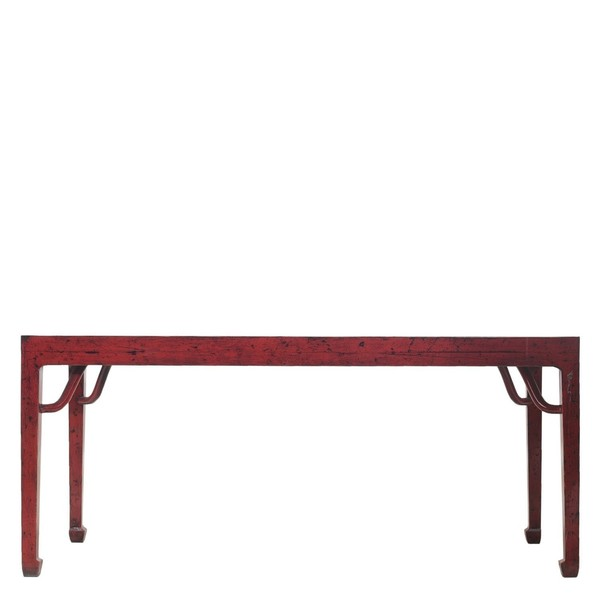 Red Dining Table. Lacquered Elm Wood. 180cm.