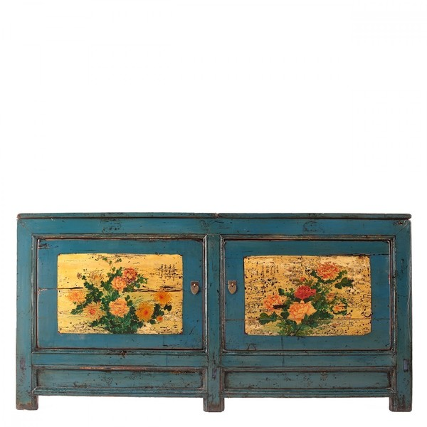 Blue Handpainted Antique Sideboard C.1920 Gansu Province