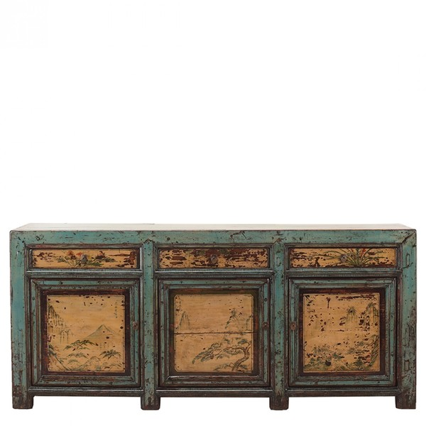 Blue Decorated Antique Sideboard C.1900