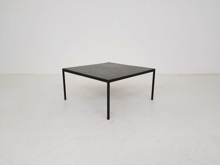 Mid Century Modern Minimalist Stone And Metal Square Coffee Table