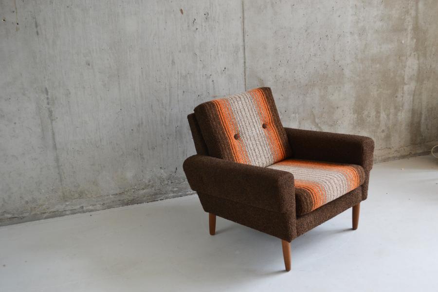 1970's Mid Century Danish Striped Woollen Upholstered Armchair