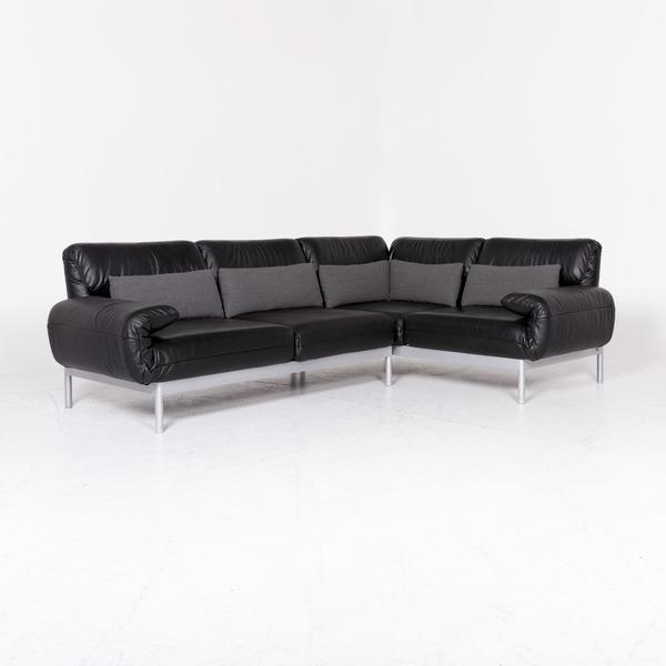 Rolf Benz Plura Black Corner Sofa Leather 8320 Rolf Benz Vinterior