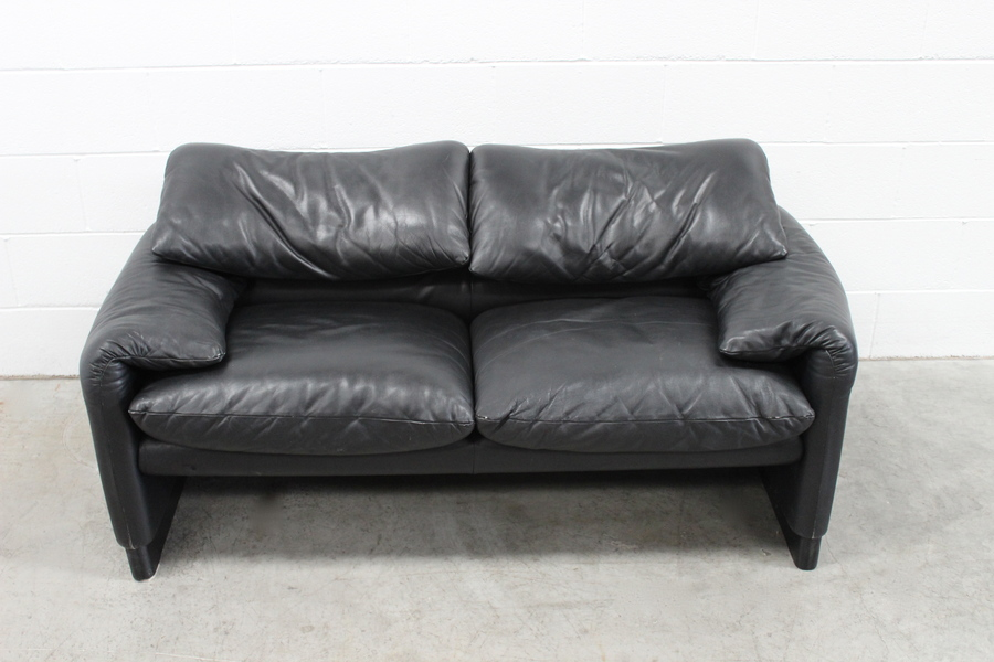 "9ed207c505 ... Sublime Handsome Cassina ""675 Maralunga"" 2 Seat Sofa In Jet Black  Leather ..."
