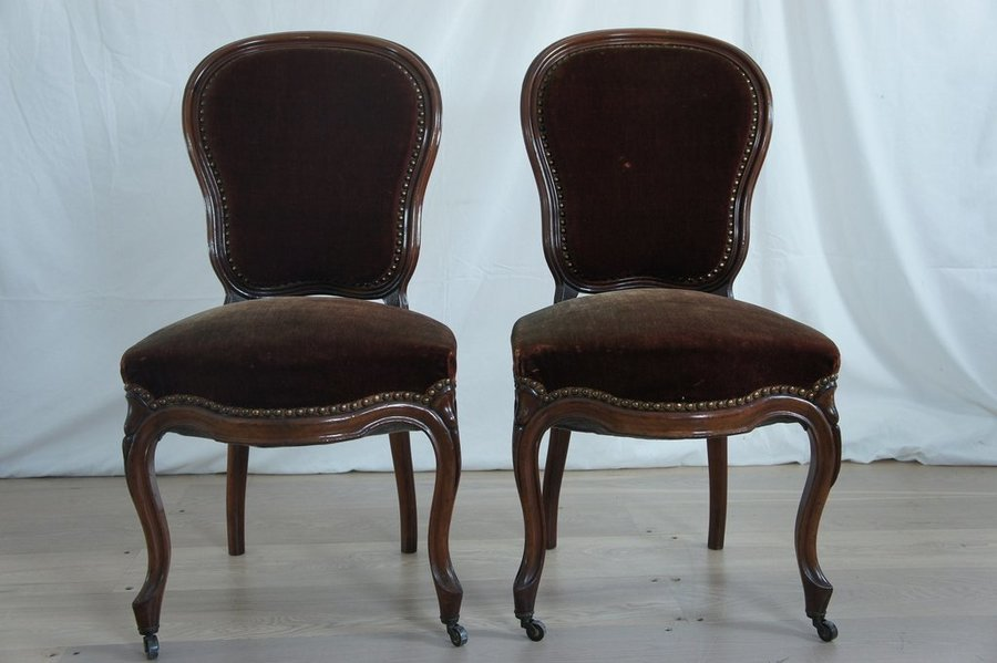 19th Century Pair Of Port Coloured Chairs