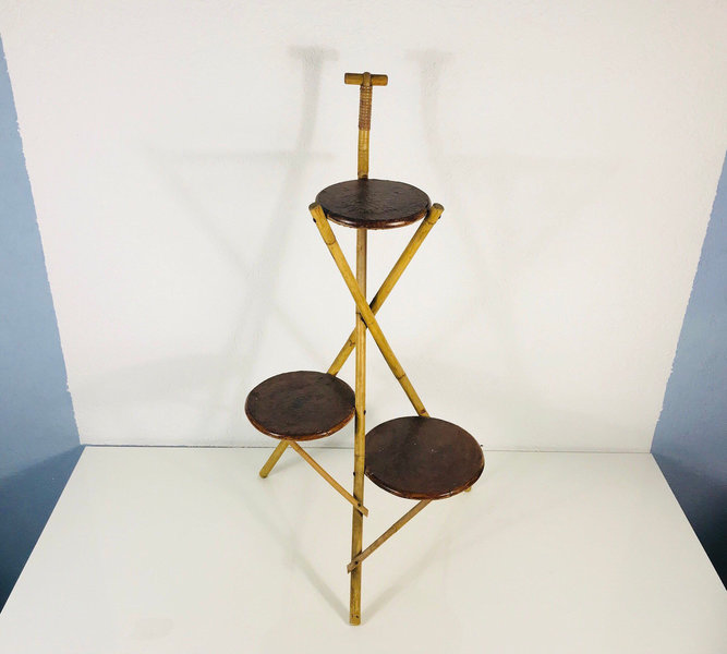 Extraordinarry Xl Bamboo Plant Stand   3 Brown Wooden Levels   Flowers Stand   Germany 1970s