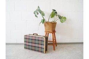 Thumb suitcases checked 1960s green checked travel suitcase 0