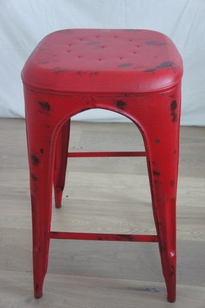 Red 1930's Style Tolix Metal High Stool photo 1