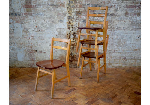 OLD SCHOOL STACKING CHAIRS VINTAGE RETRO STACKABLE SEATING SLATTED WOODEN CHAIR Antique Furniture