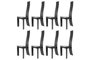 Thumb suite of 8 bob van den berghe chairs in black lacquered oak 0