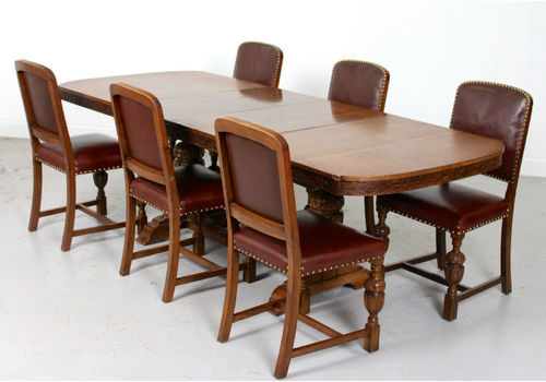 b810f266a5300 Antique Carved Oak Leather Dining Table And And 6 Chairs .