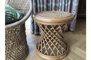 Thumb vintage 1970s 1980s rattan bamboo cane glass topped side table plant stand boho hollywood regency 0