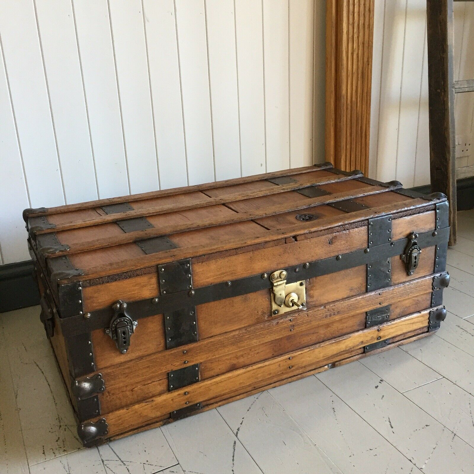 Antique Victorian Steamer Trunk Coffee Table Old Rustic Wooden Blanket Chest Pine Storage Box Key Vinterior