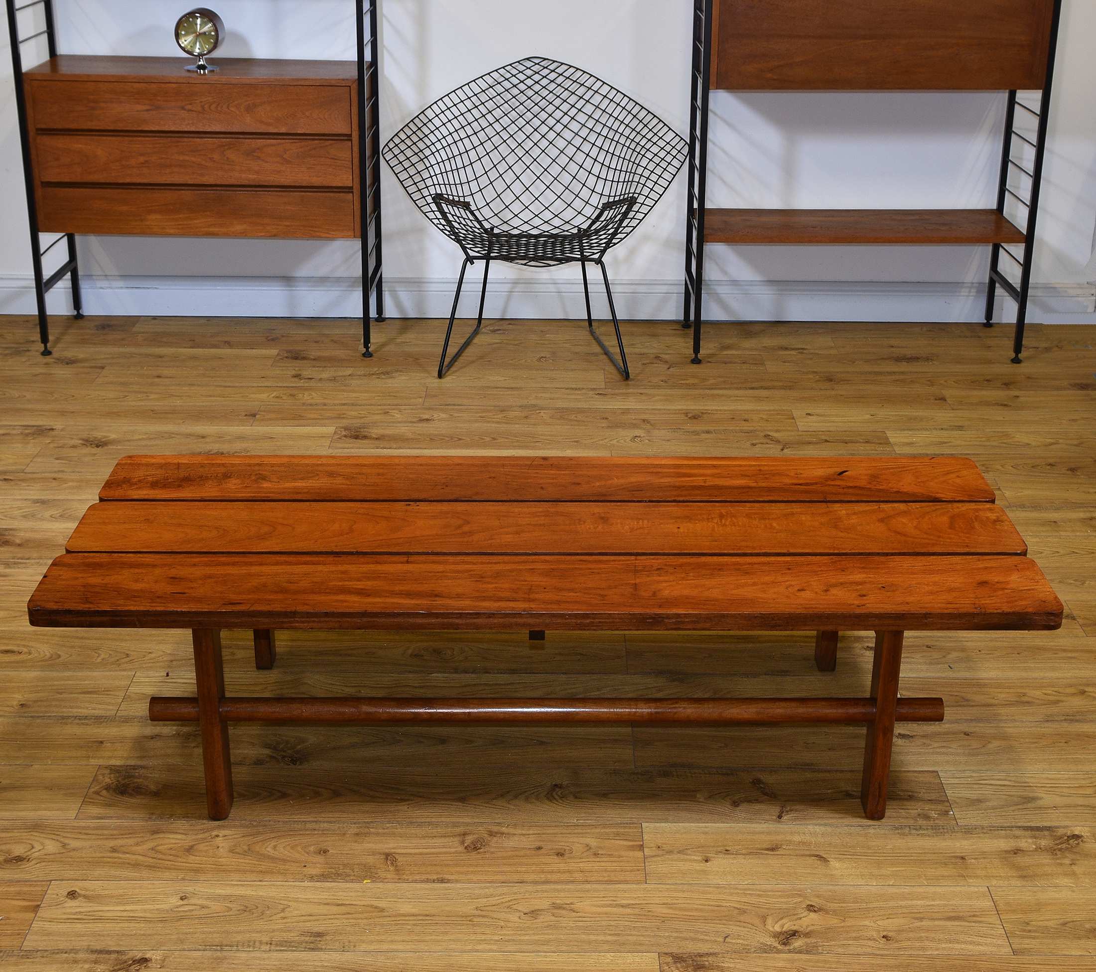 Excellent Mid Century Teak Slatted Low Bench Seat Coffee Table Free Delivery To Mainland England Wales Ncnpc Chair Design For Home Ncnpcorg