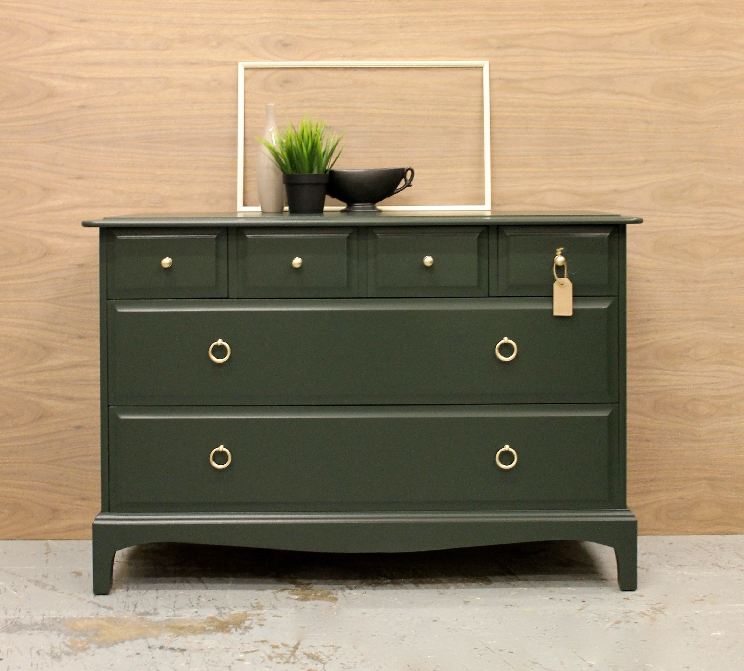 Mid Century Vintage Upcycled Stag Chest Of Drawers