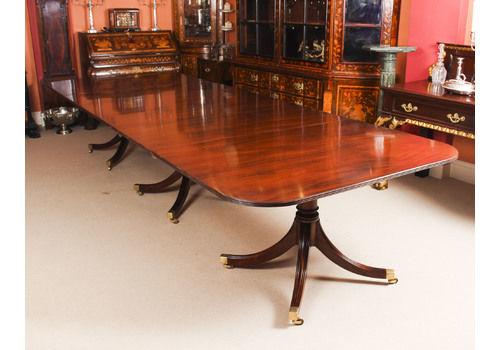 1d99b60aa43fa Vintage Regency Mahogany Triple Pillar Dining Table Willi.
