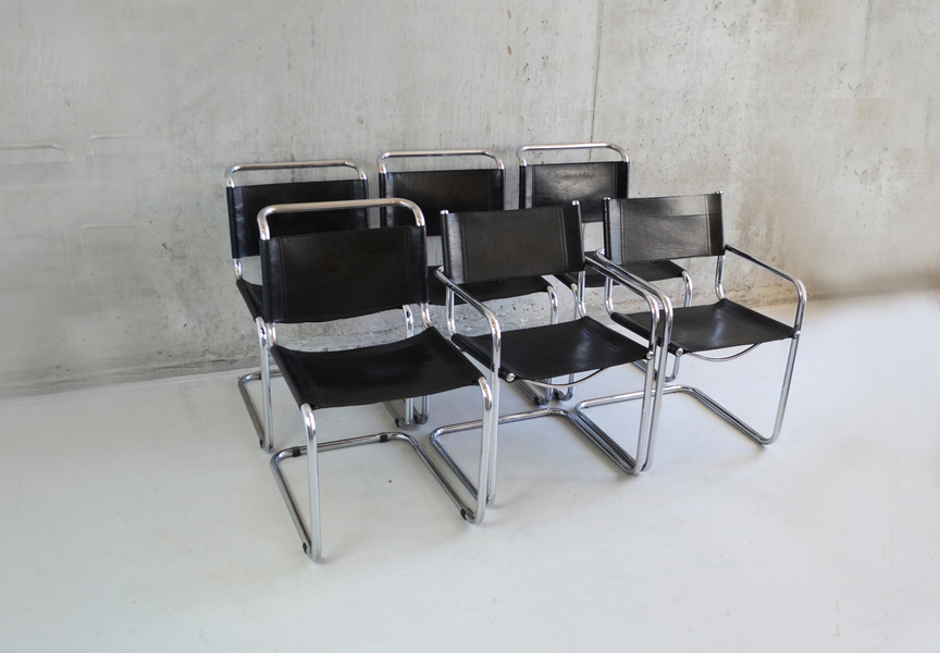 Set Of 6 Bauhaus Style 1970's Black Leather Dining Chairs