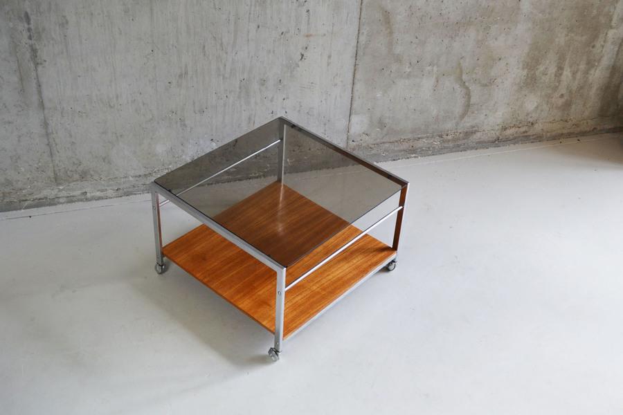 Howard Miller 1970's Chrome And Teak Coffee Table