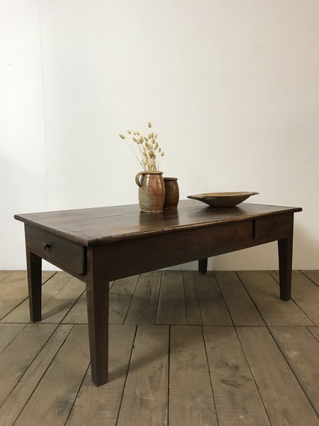 19th Century Antique French Farmhouse Cherrywood Coffee Table