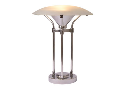 Midcentury Table Lamp With Frosted Gl Canopy Shade