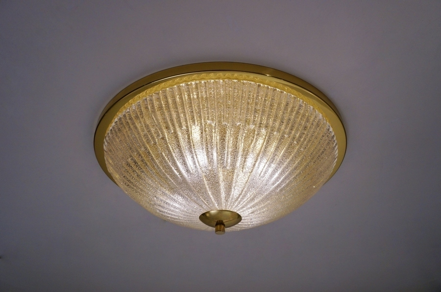 Large Flush Light In Brass & Crystal By Hillebrand