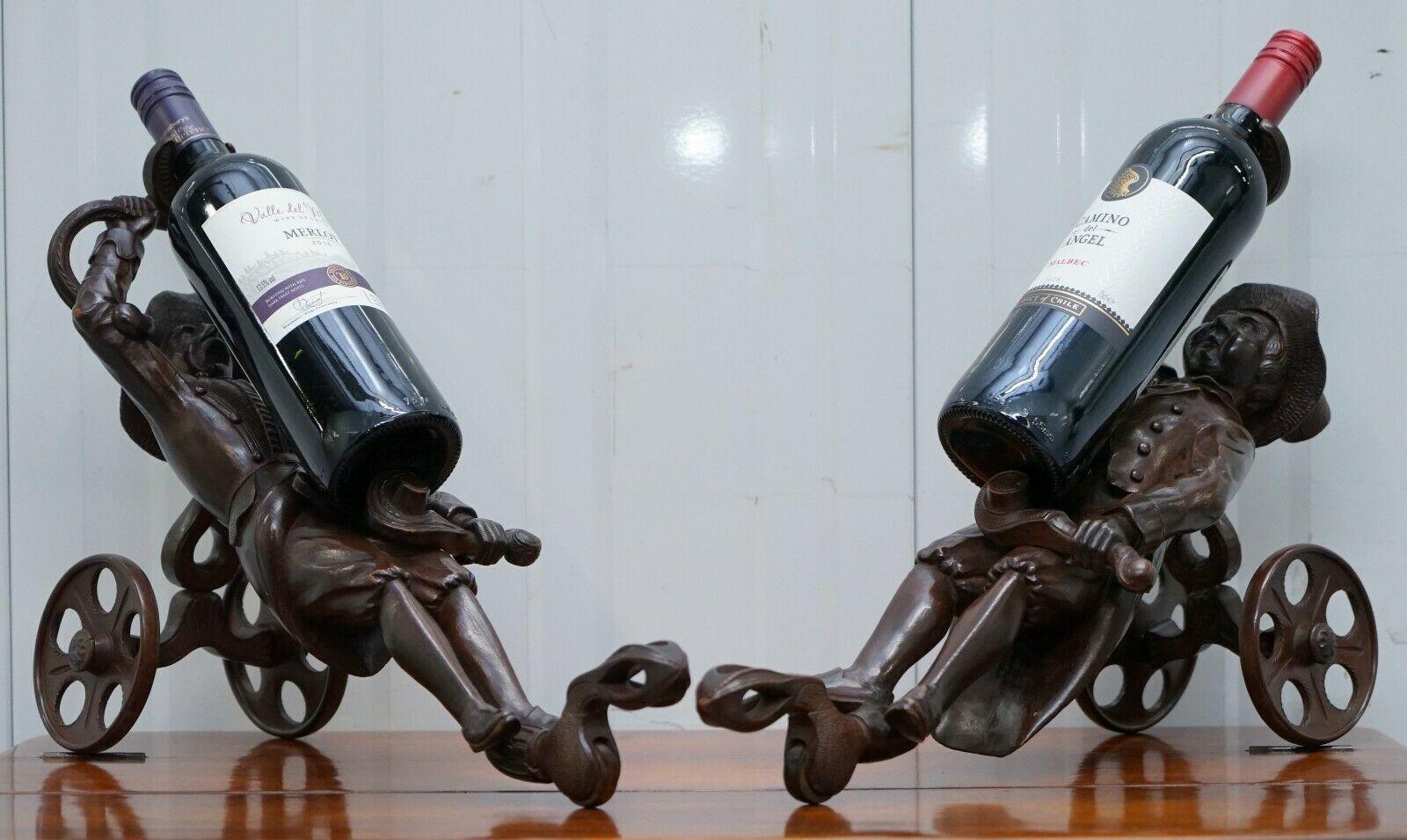 77982bf09c Rare Pair Of Original Circa 1880 Black Forest Carved Wood Wine Bottle  Holders | BLACK FOREST | Vinterior