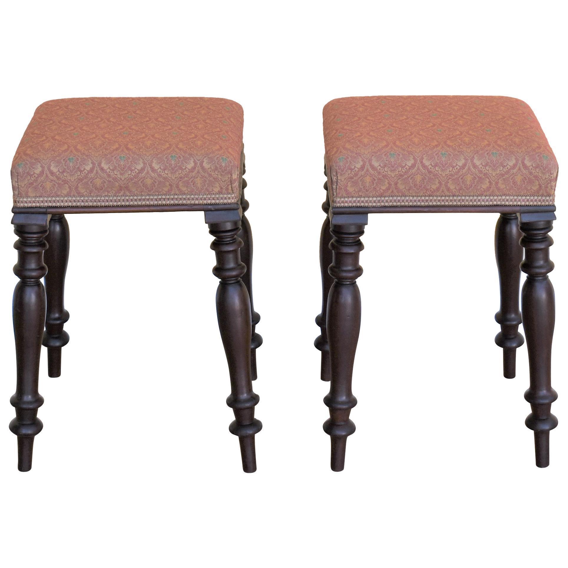 Surprising Pair Of Victorian Mahogany Upholstered Stools Inzonedesignstudio Interior Chair Design Inzonedesignstudiocom