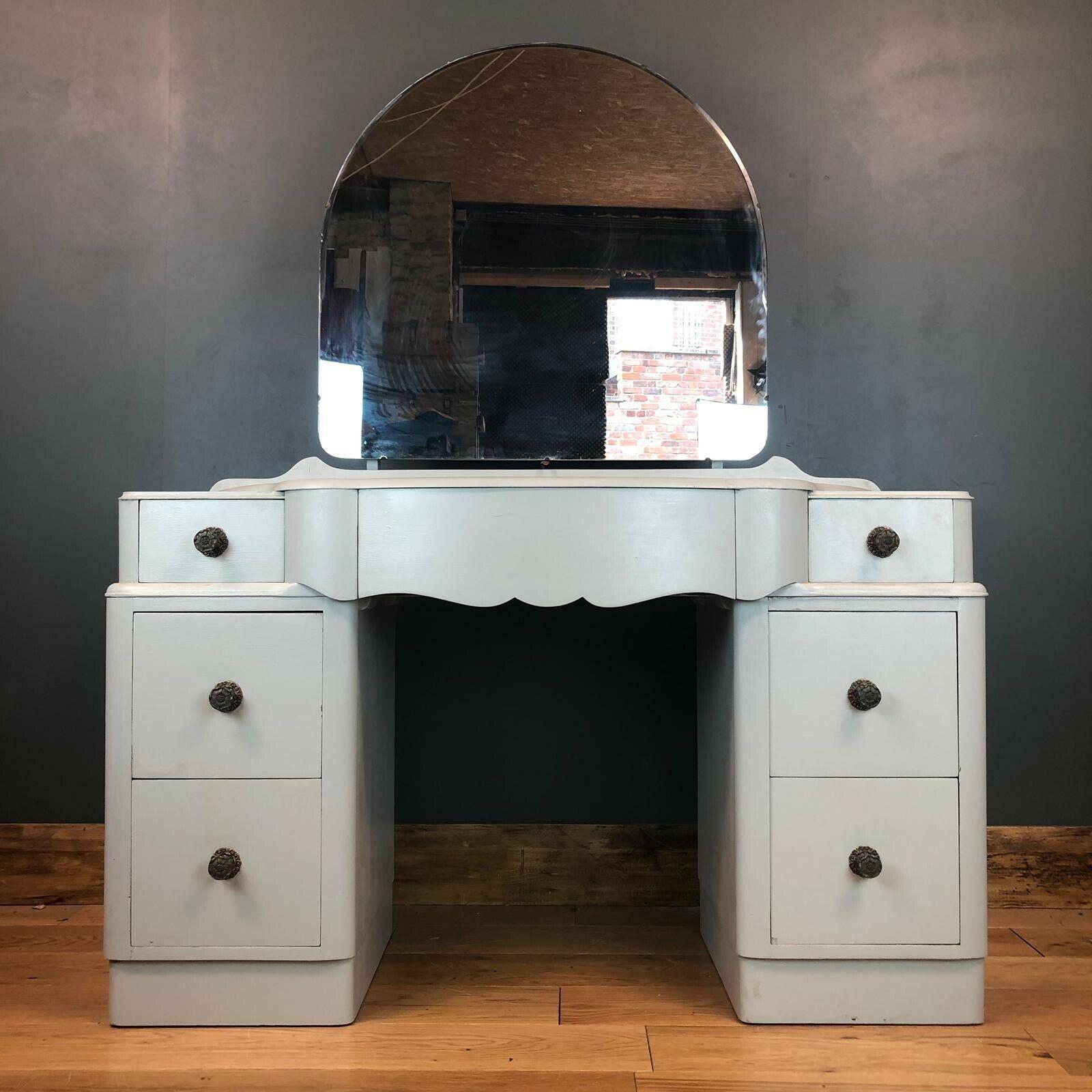 Vintage Art Deco Vanity Dressing Table Bedroom Drawers Painted Shabby Chic Boho Vinterior