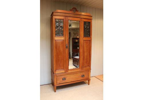 Antiques Armoires/wardrobes Alert Edwardian Art Nouveau/style Mahogany Single Wardrobe 100% Original