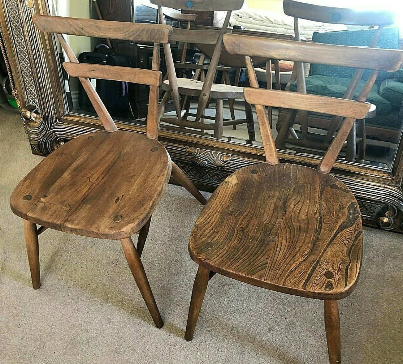 Pair Of Ercol Blue Dot Windsor Stacking Chair 462 Ercol Vinterior
