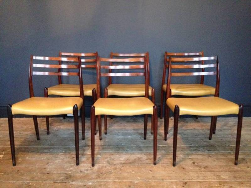 Niels Moller For Jl Moller Set Of Six Model 78 Dining Chairs